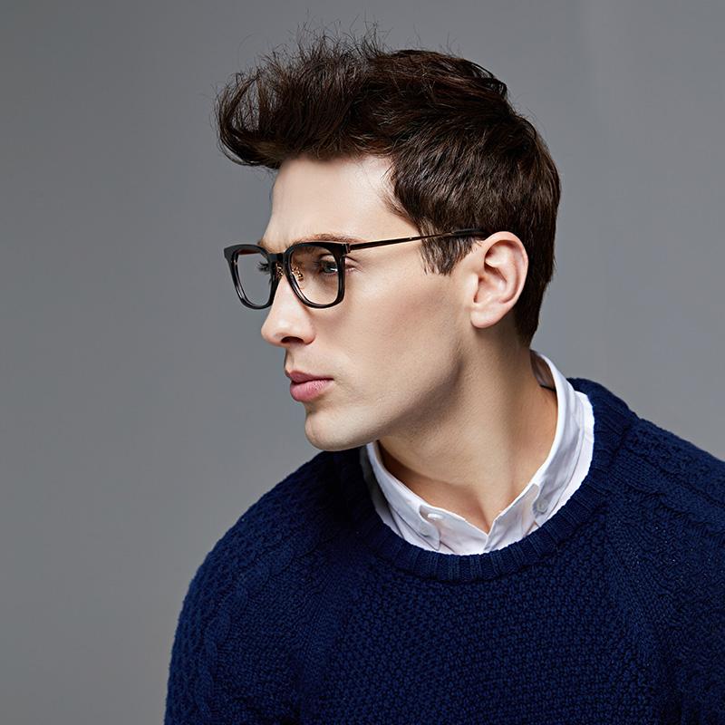 【镜架系列】复古深咖方形眼镜架 (深咖条纹)