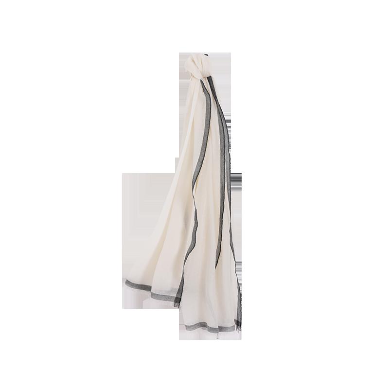 素雅轻柔 女式100%羊毛围巾/披肩 (米白)