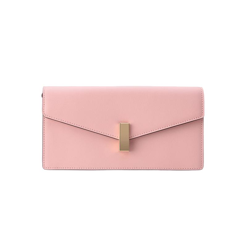 女式方形锁扣牛皮斜挎包 (脏粉色)