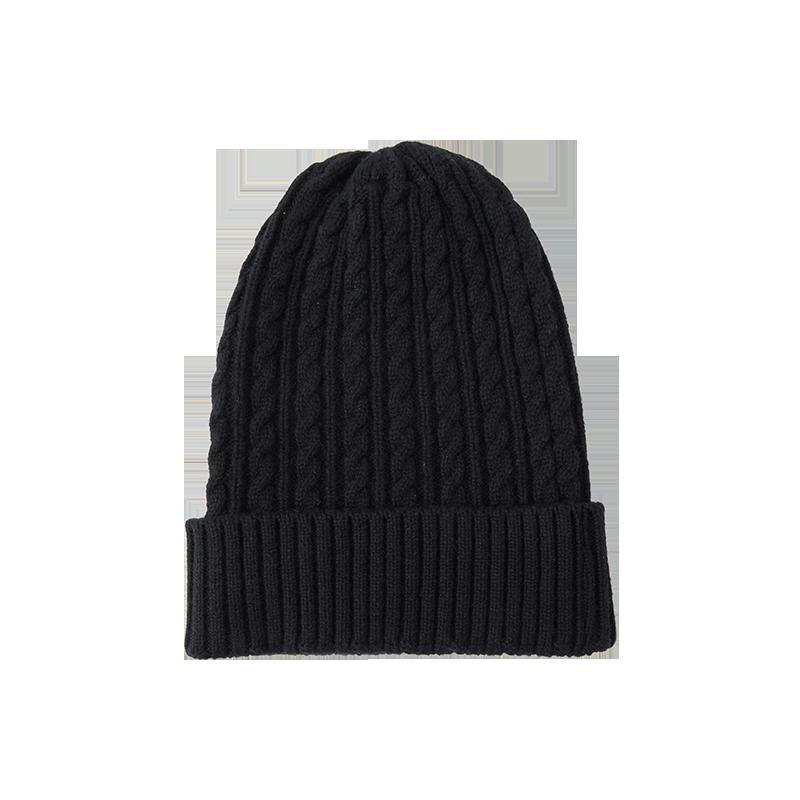 纯色羊绒混纺针织帽子 (黑色)