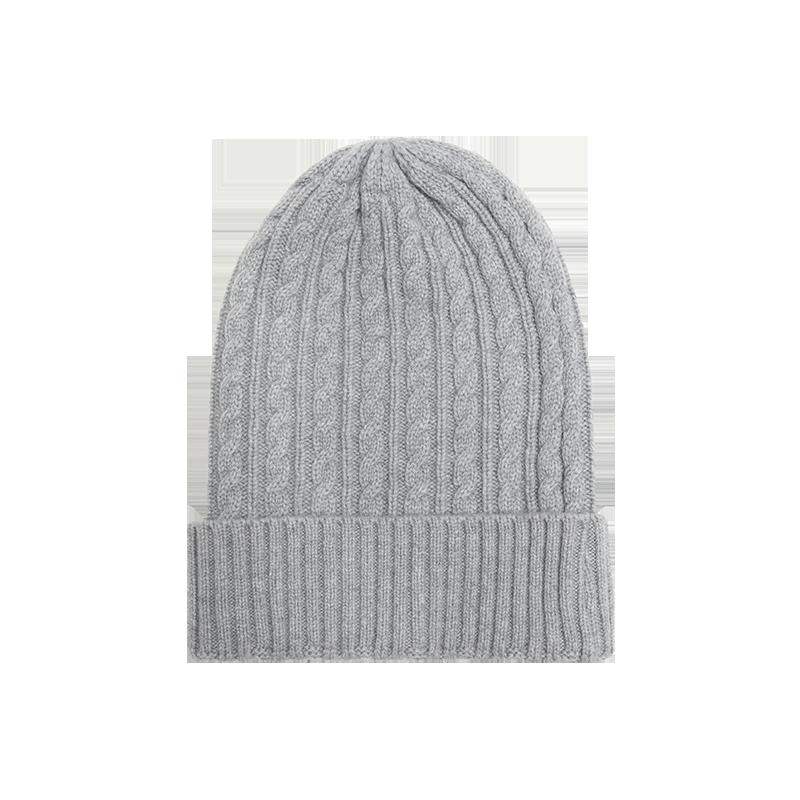 纯色羊绒混纺针织帽子 (灰色)