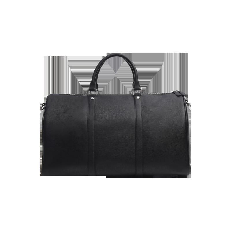 十字纹牛皮旅行袋 (黑色)