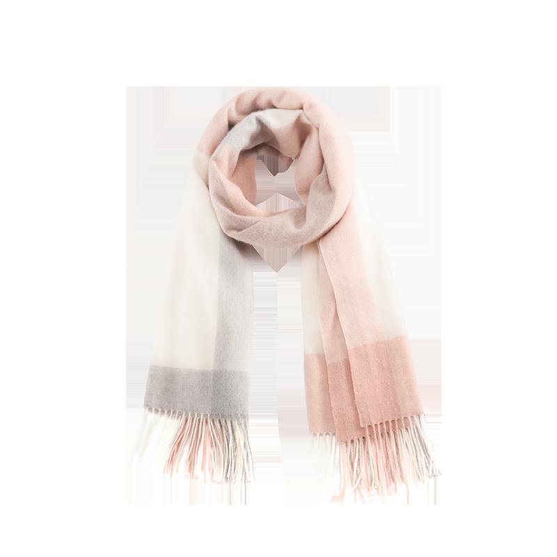 雅致格纹 女式羊绒羊毛围巾 (淡粉)