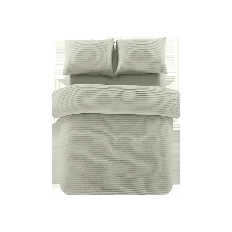 全棉色织绗缝多用件套 (浅咖色 ; 1.8m(6英尺)床)