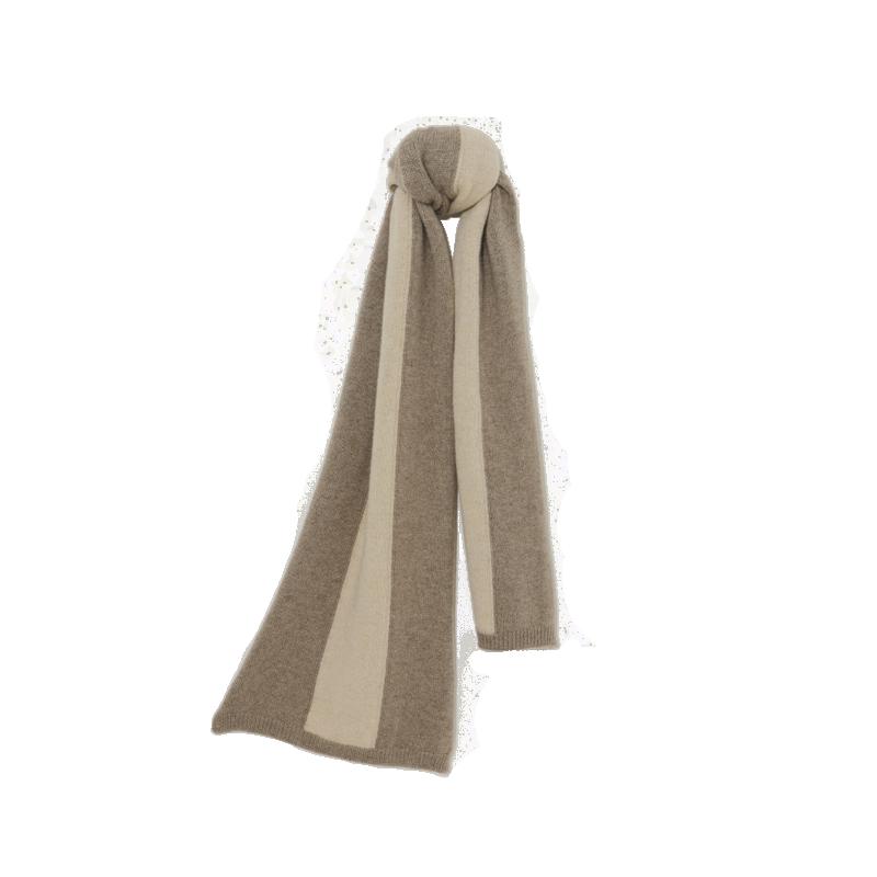 羊绒原色拼接围巾 (深棕)