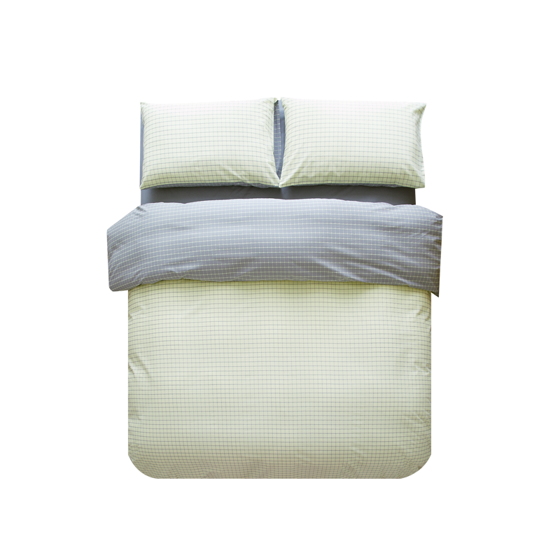 日式纯棉色织AB格四件套 (1.8M/ 2.0M ; 黄色)