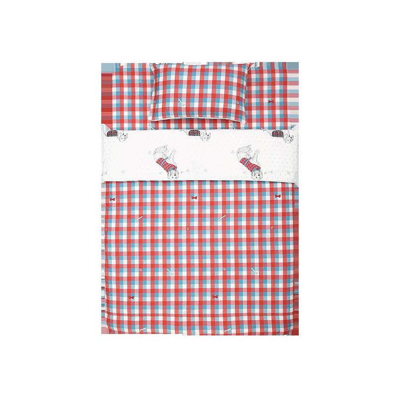 萌宠格纹 儿童全棉双面床品 三件套 (150X200cm,适合1.2米/1.35米床)
