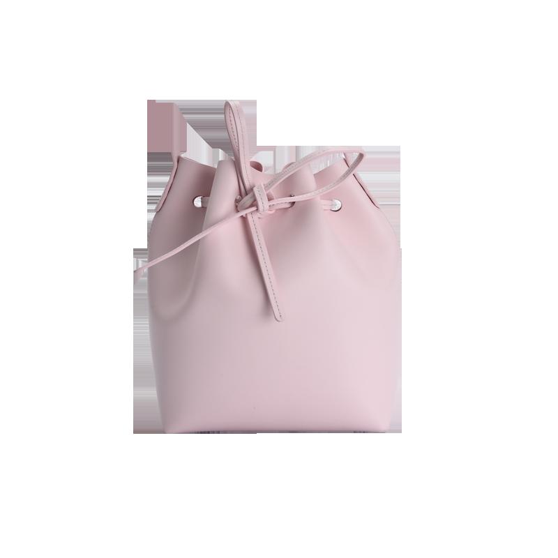 女式极简牛皮桶包 (樱花粉/樱花粉)