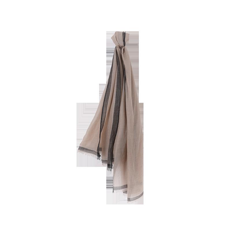 素雅轻柔 女式100%羊毛围巾/披肩 (米褐)