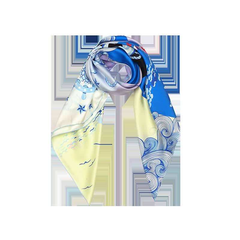 航海印花 女式100%真丝大方巾 (海洋蓝)