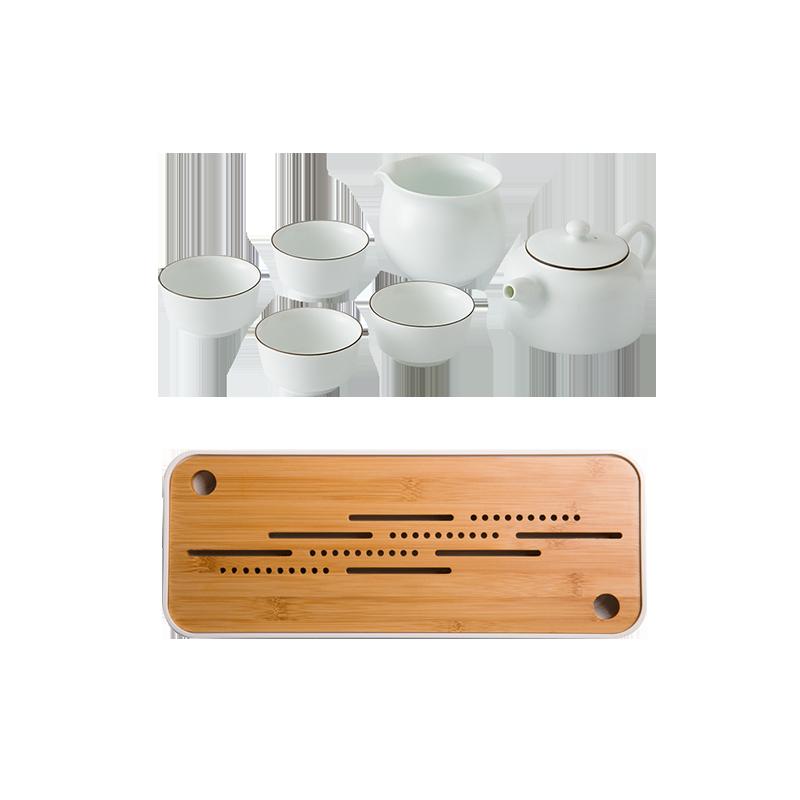 【优惠组】羊脂玉白茶组+竹制干泡茶盘