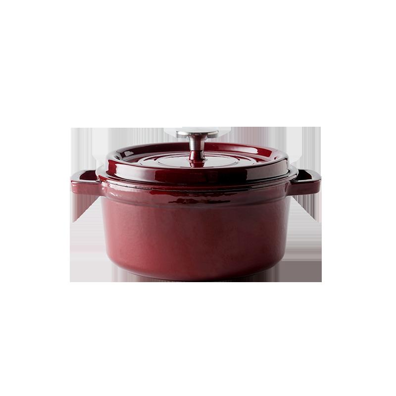 锁住食材原汁味 经典铸铁珐琅锅22cm (胭脂红)