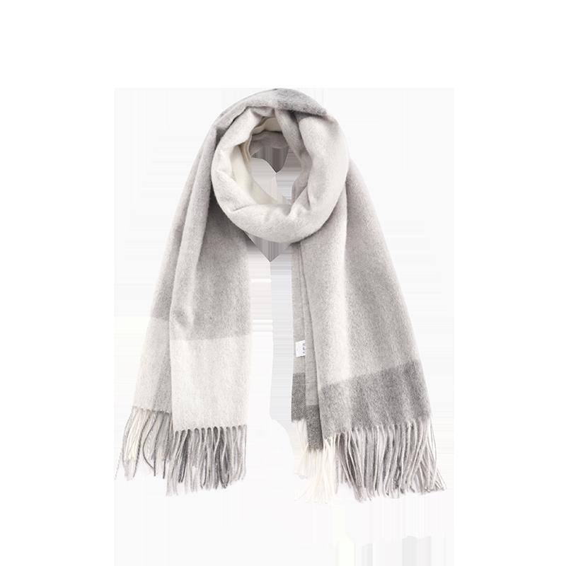 雅致格纹羊绒羊毛混纺围巾 (浅灰)