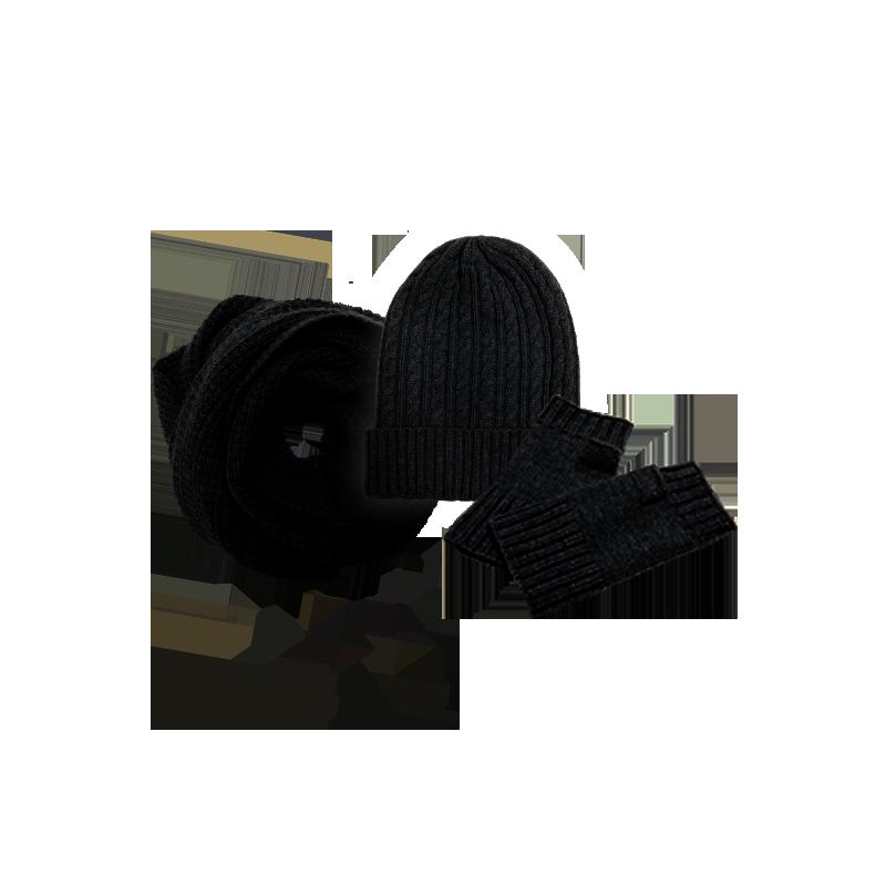 纯色羊绒混纺三件套装 (黑色(围脖+帽子+手套))