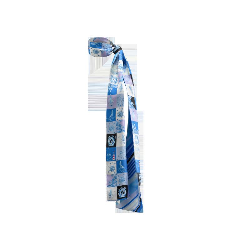 航海系列 100%真丝斜纹绸长巾 (海洋蓝)