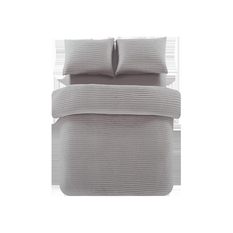 全棉色织绗缝多用件套 (灰紫 ; 1.5m(5英尺)床)