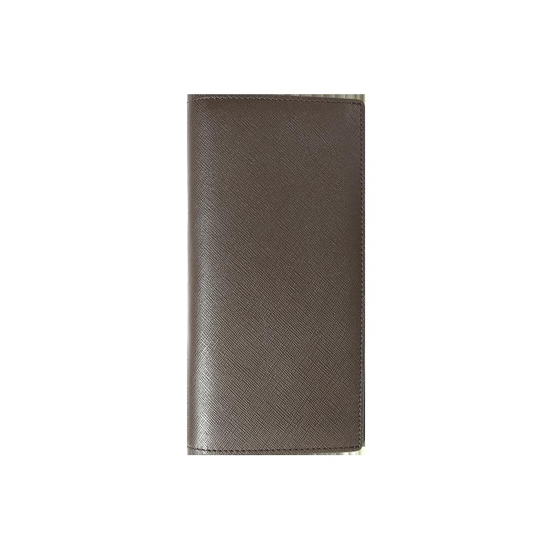 牛皮十字纹长款钱包 (棕色)