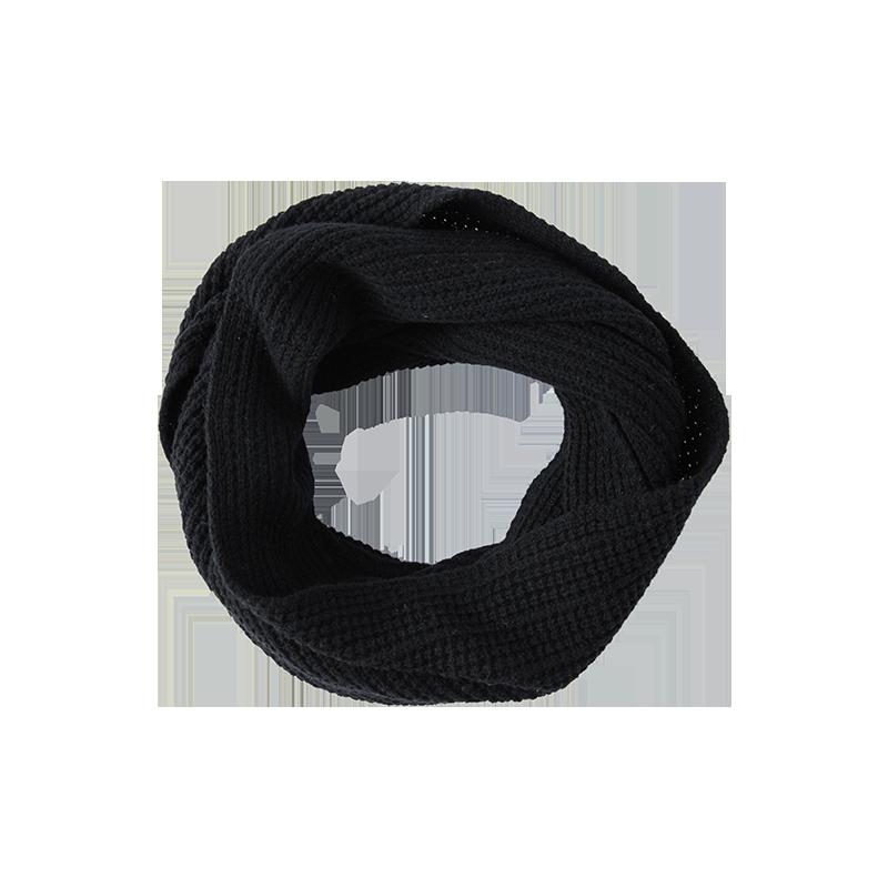 纯色羊绒混纺针织围脖 (黑色)