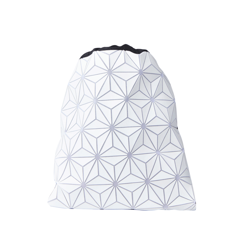 男式菱形拼接抽绳双肩包 (白色)