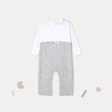 新生儿双层纱波点连体衣