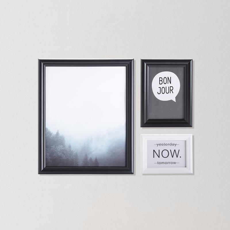 现代极简实木照片墙 13件装 (黑白混色)