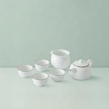 羊脂玉白茶具礼盒6件套