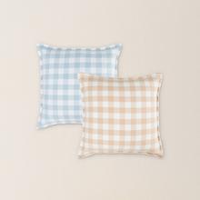 日式水洗棉格纹抱枕套