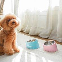 宠物不锈钢圆形倾斜餐碗
